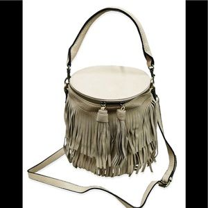Bucket Bag with Fringe Vegan Leathet